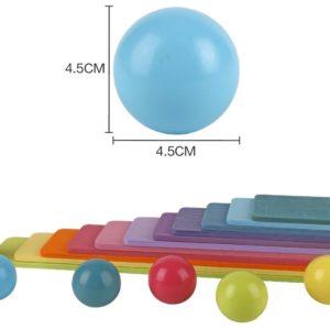 Balles en bois arc en ciel - dimensions
